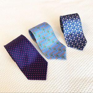 Lot of three (3) novelty men's ties beach dots